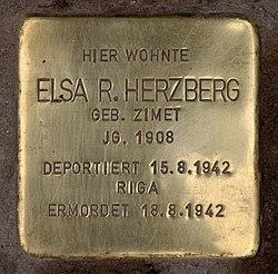 Photo of Elsa Herzberg brass plaque