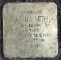 Photo of Martha Meth brass plaque