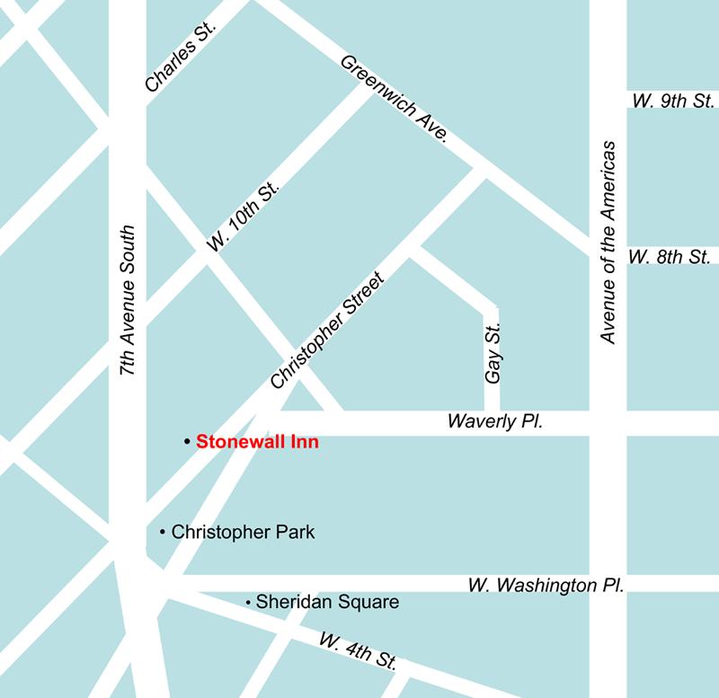 Stonewall Inn in Greenwich Village map