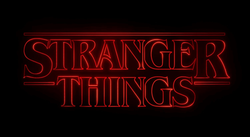 Stranger Things text written in red neon on a black background