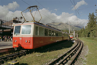 Štrbské Pleso–Štrba rack railway - Multiple unit 405.95 at the train station in Štrbské Pleso