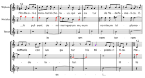 "Color (medieval music) - Example of late-14th century music using coloration for notating complex polymetric effects. Notes written in red in this modern transcription are also written in red in the original mensural notation. In each case, this indicates they are to be read as binary (""imperfect""), non-dotted notes; without coloration, they would have been read as ternary (""perfect"", i.e. dotted)."