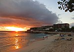 Sunset at La Plage, Maho, St Maarten, Oct 2014 (15756621335).jpg
