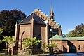 Tønsberg domkirke (Tønsberg Cathedral, Lutheran church built 1858) Norway 2020-08-25 Nordside mot Nedre Slottsgate Tårn spir (tower) (morning light) 03142.jpg