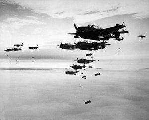 Hakodate, Hokkaido - US Navy aircraft bombing Hakodate in July 1945