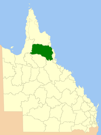 Tablelands Region - Location within Queensland, 2013, prior to de-amalgamation of Shire of Mareeba