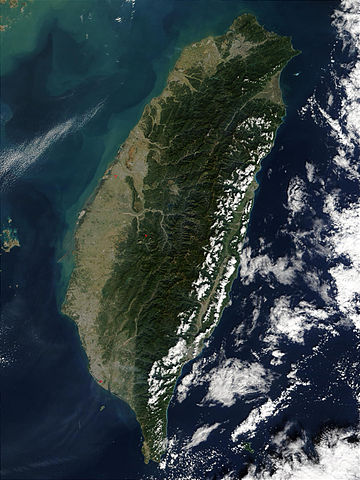 Taiwan is mostly mountainous in the east, with gently sloping plains in the west. The Penghu Islands are west of the main island. Taiwan NASA Terra MODIS 23791.jpg