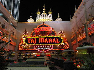 Trump Entertainment Resorts - Entrance to the Trump Taj Mahal at night, Atlantic City, New Jersey
