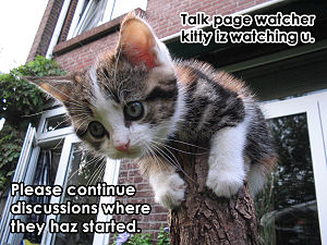 Talk page watcher kitty iz watching u. Please continue discussions where they haz started.