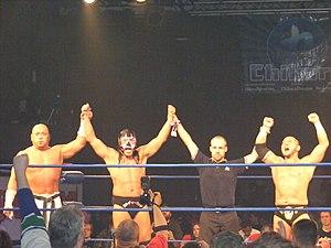 The Great Sasuke - Sasuke, Jinsei Shinzaki and Dick Togo at Chikara King of Trios in April 2011.