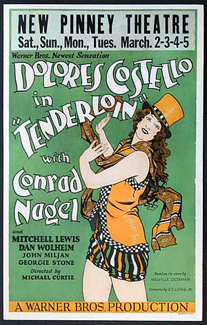 Lost film - Tenderloin (1928), starring Dolores Costello, was the second Vitaphone feature to have talking sequences. It is considered a lost film because only its soundtrack is known to have survived.