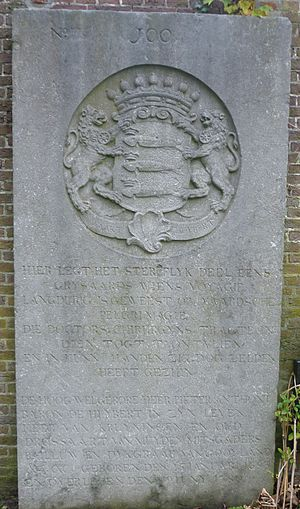 Flag of Scheveningen - Tombstone dated 1780 of the Baron De Huybert in Ter Navolging cemetery, with the engraved family insigna