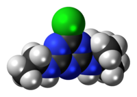 Space-filling model of the terbuthylazine molecule