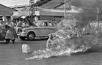Self-immolation - Thích Quảng Đức's self-immolation during the Buddhist crisis