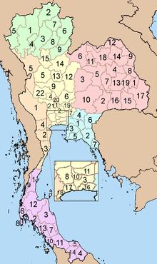 Mappa delle province della Thailandia suddivise nel sistema a sei macro-regioni: non è evidenziata la provincia di Bueng Kan, istituita nel 2011, a cui è stato assegnata la parte orientale del territorio della provincia di Nong Khai