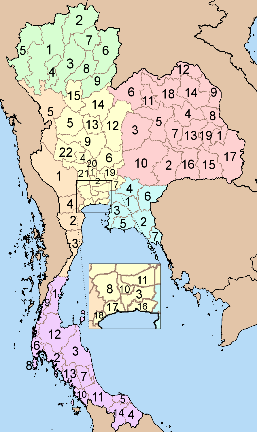 Thailand provinces six regions