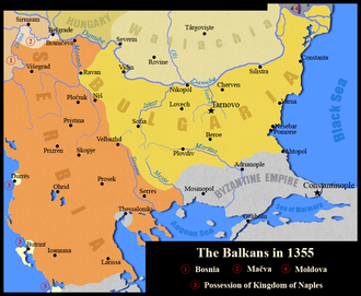 Battle of Velbazhd - Map of the Balkans in 1355. Serbia had reached its greatest expansion ever following the battle of Velbazhd.