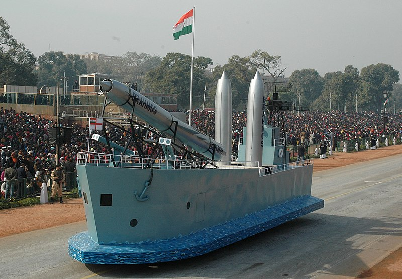 The 'Brahmos' missile passes through the Rajpath during the full dress rehearsal for the Republic Day Parade-2009, in New Delhi on January 23, 2009.jpg