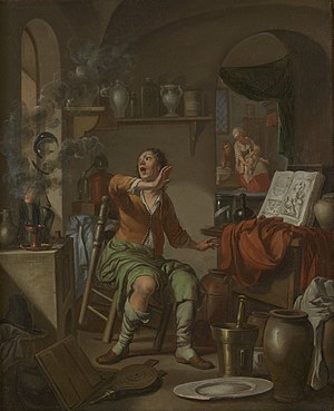 Hendrik Heerschop - The Alchemist's Experiment Takes Fire, 1687, Chemical Heritage Foundation