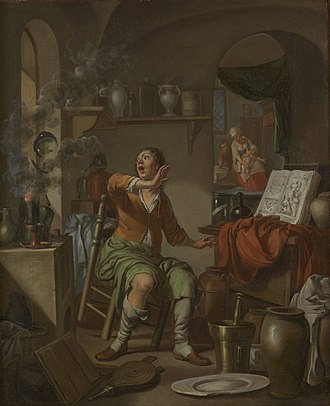 Lute (material) - The Alchemist's Experiment Takes Fire, Hendrick Heerschop, 1687 (Chemical Heritage Foundation)