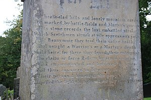 Andrew Hardie (radical) - The Bonnymuir inscription, memorial to the martyrs Andrew Hardie and John Baird, Woodside Cemetery, Paisley