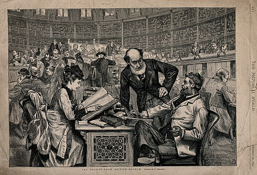 An 1874 engraving of the Reading Room in the British Museum