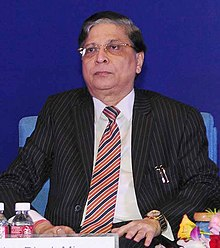 The Chief Justice of India, Justice Shri Dipak Misra during the 24th Foundation Day Function of the National Human Rights Commission (NHRC), in New Delhi on October 12, 2017 (cropped).jpg
