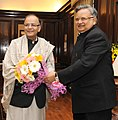 The Chief Minister of Chhattisgarh, Shri Raman Singh calling on the Union Minister for Finance, Corporate Affairs and Information & Broadcasting, Shri Arun Jaitley, in New Delhi on January 15, 2015.jpg