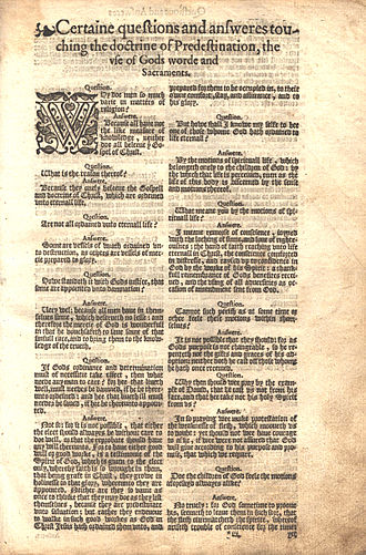 Predestination in Calvinism - The Doctrine of Predestination explained in a Question and Answer Format from a 1589/1594 Geneva Bible