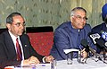 The External Affairs Minister Shri Yashwant Sinha and the Foreign Secretary Shri Shashank at a Press Conference at CHOGM-2003 at Abuja, Nigeria on December 5, 2003.jpg
