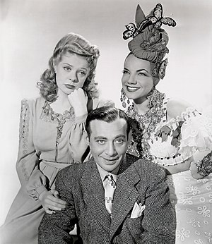 The Gang's All Here (1943 film) - Left to right: Alice Faye, Phil Baker, and Carmen Miranda in The Gang's All Here (1943).