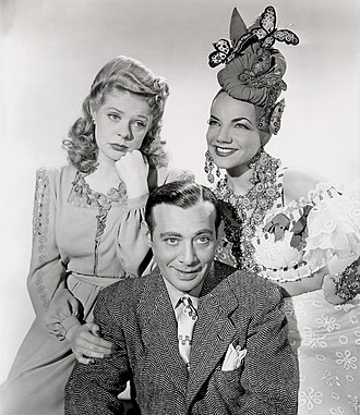 Alice Faye - Faye, Phil Baker and Carmen Miranda in The Gang's All Here (1943).