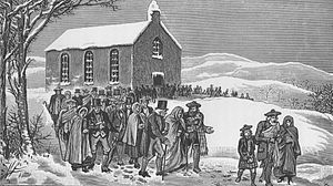 Disruption of 1843 - Parishioners walk out of church in protest at the unpopular appointment of a minister in the parish of Marnoch, Strathbogie in 1841.