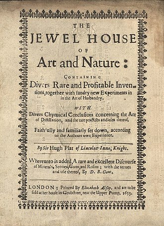 Hugh Plat - The Jewell House of Art and Nature, title page 1653