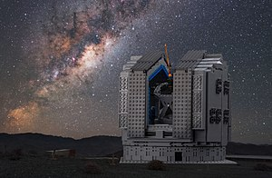Toy block - Image: The LEGO VLT model against the real Milky Way