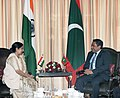 The Leader of Opposition in Lok Sabha, Smt. Sushma Swaraj meeting the President of the Republic of Maldives, Mr. Abdulla Yameen Abdul Gayoom, in New Delhi on January 02, 2014.jpg
