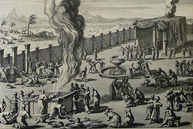 File:The Phillip Medhurst Picture Torah 521. Burnt offering. Leviticus cap 8 vv 14-16. Mortier.jpg