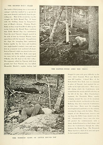 "Battle of Gettysburg, Second Day - Two pictures of a group of Confederate dead in woods near the ""Slaugther Pen"" at the foot of Big Round Top."