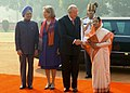 The President, Smt. Pratibha Devisingh Patil and the Prime Minister, Dr. Manmohan Singh at the ceremonial reception of the King Albert II and Queen Paola of Belgium, at Rashtrapati Bhavan, in New Delhi on November 04, 2008.jpg