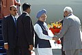 The Prime Minister, Dr. Manmohan Singh being received by the Governor of Jammu & Kashmir, Shri N.N. Vohra, on his arrival at Udham Airport, in Jammu & Kashmir on October 10, 2008.jpg