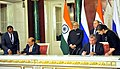The Prime Minister, Shri Narendra Modi and the President of Russian Federation, Mr. Vladimir Putin witnessing the signing of agreements, at Moscow, in Russia on December 24, 2015 (6).jpg