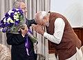 The Prime Minister, Shri Narendra Modi greeting the President, Shri Pranab Mukherjee, on his birthday, at Rashtrapati Bhavan, in New Delhi on December 11, 2016 (1).jpg