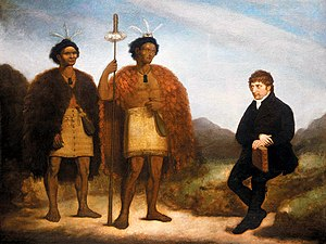 Religion in New Zealand - This 1820 painting shows Ngāpuhi chiefs Waikato (left) and Hongi Hika, and Anglican missionary Thomas Kendall