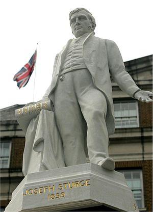 Joseph Sturge memorial - The restored statue of Joseph Sturge on 24 March 2007.