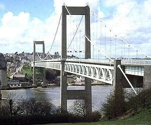 Tamar Bridge - The original Tamar Bridge in 1978, before its late-1990s reconstruction.