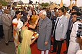 The Vice President, Mohammad Hamid Ansari being welcomed at the closing ceremony of the Rajasthan Day at Jaipur on March 30, 2008.jpg