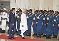 The Vice President, Shri Mohd. Hamid Ansari inspecting the Guard of Honour, at the ceremonial reception, in Phonm Penh, Cambodia on September 16, 2015. The Prime Minister of Cambodia, Mr. Hun Sen is also seen.jpg