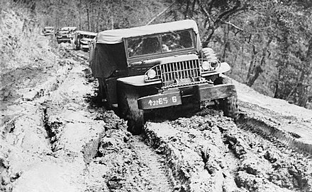 Jeep transport on the Tiddim Road during the monsoon The War in the Far East- the Burma Campaign 1941-1945 IND4058.jpg
