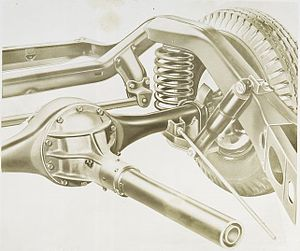 Buick Roadmaster - Spring and shock absorber mechanism on the rear wheels of the 1938 Buicks.