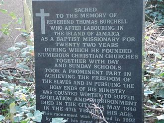 Thomas Burchell - Thomas Burchell's memorial, erected in 1992 at Abney Park Cemetery by two of his great-grandchildren